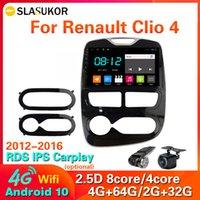 4G LTE WIFI 안드로이드 10 2 DIN 자동차 라디오 멀티미디어 비디오 플레이어 르노 CLIO 3 4 2012-2016 DVD 없음