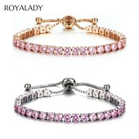 Braccialetti di fascino Fashion CZ Crystal Tennis Bracelet Braccialetto di lusso 4mm lucido zirconi zirconia Braccialetto rotondo per le donne uomini Strass Bridal Jewelry1