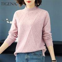 TIGENA La mitad de cuello alto suéter de invierno de las mujeres de otoño de manga larga suéter suéter de punto Mujer Tops Jumper señoras de los géneros de punto 200929