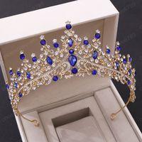 Accesorio de la joyería hecha a mano cristalina de lujo del metal del Rhinestone tiara de la corona diadema Headpeice mujeres novia pelo de la boda