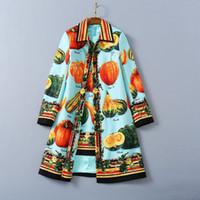 Usure des femmes européennes et américaines 2020 hiver nouveau style manches longues à manches longues boutons fins boutons mode citrouille imprimé manteau de laine