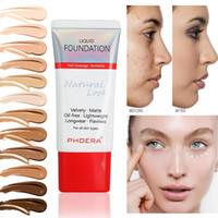 Phoera Foundation Långvarig Whitening Fuktgivande Matt Oljekontroll Flytande Foundation Concealer Base Cream