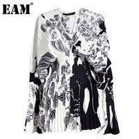 [EAM] Patrón mujeres imprimieron el tamaño grande de la blusa Nuevo V-collarLong manga sueltos apto de la camisa marea de la moda de otoño del resorte 1W32609 201028