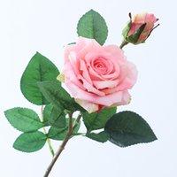 2 머리 인공 장미 가장자리 컬 시뮬레이션 장미 꽃 웨딩 홈 장식 가짜 꽃 발렌타인 데이 선물 13 색 T9I001011 255 G2