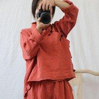 Damen Blusen Shirts Johnature Chinesische Stil Retro Standplatte Schnalle Langarm Hemd 2021 Herbst Baumwolle Leinen Solide Farbe All-Match W