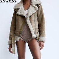 Xnwmnz za mujer moda gruesa cálido invierno piel sintética chaqueta de gran tamaño abrigo vestido de manga larga femenina ropa exterior chic tops y1112
