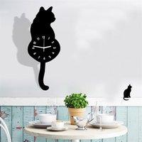 Dessin animé créatif mignon chat manching horloge de décoration de la maison de décoration de la queue bouger silence décor Saat décoration maison montre cadeau mur # zs y200109