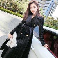 여성 트렌치 코트 윈드 브레이커 여성 2021 가을 겨울 여자 부티크 패션 슬림 플러스 크기 두꺼운 코트 기질 긴 겉옷