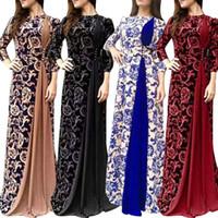 Artı Boyutu Kadın Elbiseler Akşam Parti Ortaçağ Çiçek Baskı 3 4 Kollu Maxi Elbise Elbise Kaliteli Kadın Giysileri