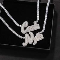 Уникальная мода COSTOME Наименование Письмо Ожерелье Позолоченное Bling Gyy CZ Письмо Ожерелье с 4 мм 20 дюйма CZ Теннисная цепь для мужчин Женщины