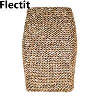 Flectit Womens Röcke Gold Pailletten Minirock Bodycon Bleistift Rock Kurze Wickelrock Für Büro Lady Party Mädchen Saia T200106