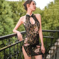 Voir à travers Sexy Sous-vêtements Classical Chinois Style Chinois Imprimé Dentelle florale Open Dress Retro Nightpown Femmes Cheongsam