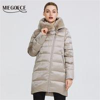 Miegofce Kış kadın koleksiyonu kadın sıcak ceket ceket kış rüzgar geçirmez stand-up yaka ile kaput ve tavşan kürk parka 201212