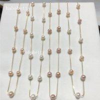 펜던트 목걸이 도매 자연 담수 진주 거의 원형 흰색 핑크 퍼플 6-7mm 티베트 실버 목걸이