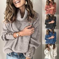 Maglioni da donna Zogaa inverno pullover maglione maglione donna Top a maglia Pulsante Plus Size Casual Manica Lunga Pull Ladies TreftleNeck Pullover