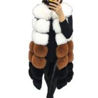 여성용 모피 가짜 패션 겨울 여성 조끼 코트 따뜻한 긴 조끼 여성 겉옷 Jacket1