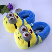 minions 3D chinelos mulher Inverno Quente chinelos Despicable Minion Stewart Figura Shoes Plush Toy Home Slipper Tamanho boneca 201026