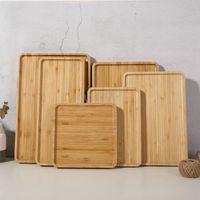 Handwerk Holz Sushi Dessert Dish Plate Umweltfreundliche Holzplatten Geschirr Kekse Tee Servierfach Rechteck Holzschalenhalter BH4361 TQQ