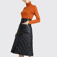 Anteef Plus Size Preto Cintura Alta Roupas Outono Inverno Saia Casual Solta Midi Saias Mulheres Saia Jupe Feminino Streetwear Y200326