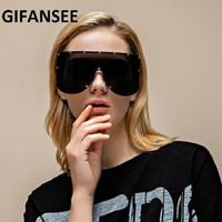 Gafas de sol Gifansee Oversized Shield Máscara sin montura Mujeres One Pieces Visor Men Shades Brand Designer Gafas Gafas 2021 BIG