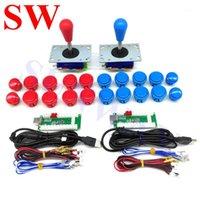 Controller di gioco Joysticks 2player Kit arcade fai-da-te con encoder USB PC Zippy Joystick Joystick Ball + pulsanti + pulsanti + cablaggio per Android / R