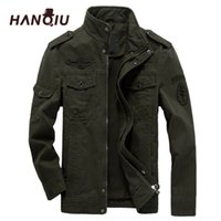 Hanqiu бренд M-6XL бомбардировщик куртка мужчин военная одежда весна осень мужская пальто сплошной рыхлой армии Военная куртка 201114