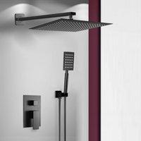 Bakala Aço Inoxidável Quadrado Preto Banheiro Rain Head Faucet Misturador Handheld Duche Spray Set LJ201211