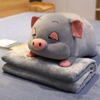 Oreiller en peluche de porc Sleepy Sleepy Super doux avec couverture de flanelle de haute qualité jouets en peluche Hamster Souris Jet d'oreiller Coussin Lj201126