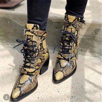 Rylee Kesme Deri Ayak Bileği Çizmeler Python Yılan Baskı Ayakkabı Kadın Sivri Burun Elbise Botas Mujer Toka Savaş Botları Pompaları1