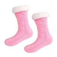 Sportstrumpor Kvinnor Vinter Fleecefoder Sticka Non Slip Warm Fuzzy Mysigt Slipper 1 Par