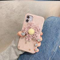 حالة الشتاء ل iphone12mini واقية المخملية زهرة الغطاء الخلفي