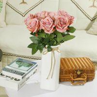 Singolo faux velluto rosa lungo gambo e verde lasciano fiori artificiali home tavolo decorazione dell'hotel da sposa regalo YHM939-ZWL
