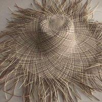 Ampla Brim Hats Lvtzj Mulheres Handmade Palha Sun Hat Grande Gilrs Alta Qualidade Natural Raffia Panama Beach Caps para férias