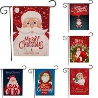 45 * 30cm di Natale Bandiera Giardino lino Banner Moda Babbo Natale modello stampa fronte-retro Bandiere DHL libera