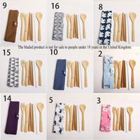 Piastre Set da tavola di bambù bacchette Coltelli forcella Cucchiaio panno borsa di paglia spazzola posate Kit 7 pc / insieme Cena Imposta 9wl G2