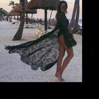 جديد إمرأة الصيف ملابس السباحة بيكيني التستر مثير شاطئ التستر الدانتيل الأزهار كيمونو بلوزة طويلة أنيقة الصلبة الشاطئ المايوه