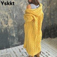 YSKKT-Herbst-Winter-Strickjacke Frauen übergroßen Pullover abgestreifte Blumen-Strickjacken gestrickt lange Kapuzenpullover plus Größe 2020 201028