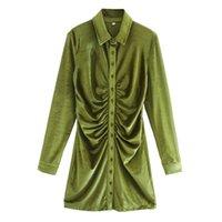 Vintage Zarif Yeşil Draped Kadife Mini Elbise Kadın Moda Düğmeler Turn-down Yaka Elbiseler Kadın Chic Vestidos Q0111