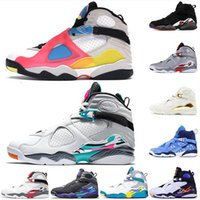 Top Calidad 2020 Jumpman 8 Mens Shoes de baloncesto 8s Satin \ R \ R Aqua Black Doernbecher Multicolor Bred Sneakers Trainers 13