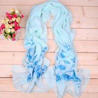 Las bufandas de poliéster nueva gasa de las mujeres de seda de las bufandas cuadradas Moda de Primavera Imprimir flores de verano mantón chales y Hijabs