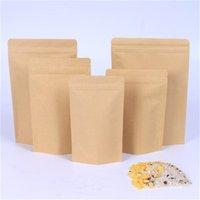 11 Boyutları Kahverengi Kraft Kağıt Stand-up Çanta Isı Mühürlenebilir Repaalable Zip Kılıfı İç Folyo Gıda Depolama Ambalaj Çanta Ile Gözyaşı Notc 4 L2