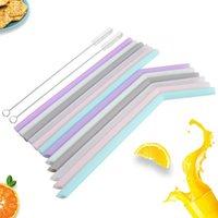 Wiederverwendbarer Silikon-Trinkstroh faltbare Nahrungsmittel-Grade-Safe-Strohhalme gefaltet gebogener gerader Saft-Stroh Küchenbar-Zubehör 6 Farben VT0302