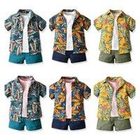 الأولاد الدعاوى أطفال مجموعات الطفل يتسابق الصيف القطن قصيرة الأكمام قمصان تي شيرت السراويل 3 قطع شاطئ الأولاد الملابس 1-6years B3920