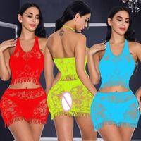 Plaunge V Neck Halter Backless Naselli Crop Top Bra + Babydoll Bodycon Mini Belly Dance Dress Cotillon Intimates Sleepwearwear1