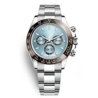 ブラックセラミックベゼルブルーリストオートウォッチメンデザイナー自動ステンレス鋼の多機能機械運動腕時計全3ダイヤルワーククロノ