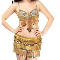 Bühnenabzug Damen Bauch Tanzen Kostüm Anzug Club Party Outfits Leistung Karneval Pailletten Perlen Münzen BH + Gürtel Wrap Schal