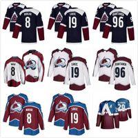 Colorado Avalanche Hockey-Trikots 8 Cale Makar 19 Joe Sakic 29 Nathan Mackinnon 92Landeskog 96 Mikko Rantanen Kostenloser Versand Hockey Jersey