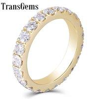Transgems 14k 585 Giallo oro 2.8mm F Color Moissanite Full Eternity Band per le donne Regali di nozze Belle Gioielli Y200620