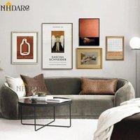 NHDARC Renaisance Retro Leite Estilo de Brown Imprimir Lona Pintura Poster Poster Muro Arte Fotos para sala de estar Decor1