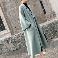 Olome 새로운 가을 겨울 여성 재킷 따뜻한 한국 스타일의 우아한 캐주얼 긴 코트 겉옷 숙녀 블랙 자켓 201031